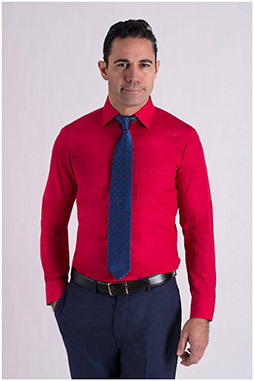 Camisas, Vestir Manga Larga, 106940, ROJO