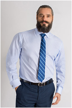 Camisas, Vestir Manga Larga, 109401, CELESTE