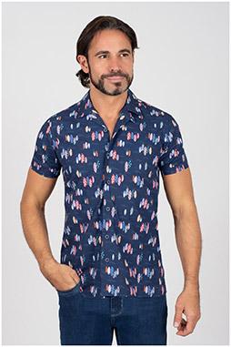 Camisas, Sport Manga Corta, 110070, MARINO