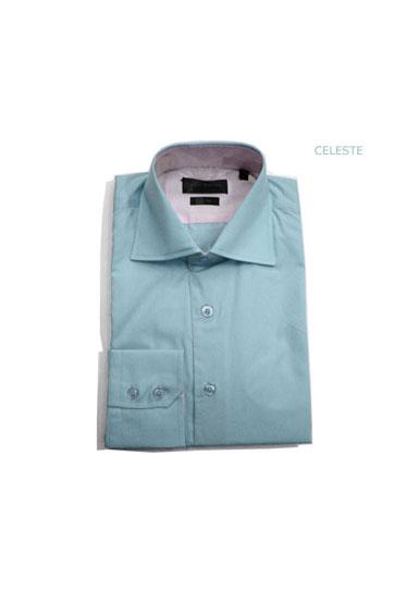 Camisas, Vestir Manga Larga, 103422, CELESTE