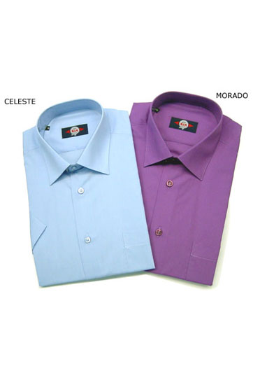 Camisas, Vestir Manga Corta, 104227, CELESTE