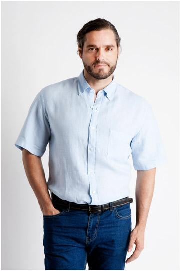Camisas, Sport Manga Corta, 106531, CELESTE