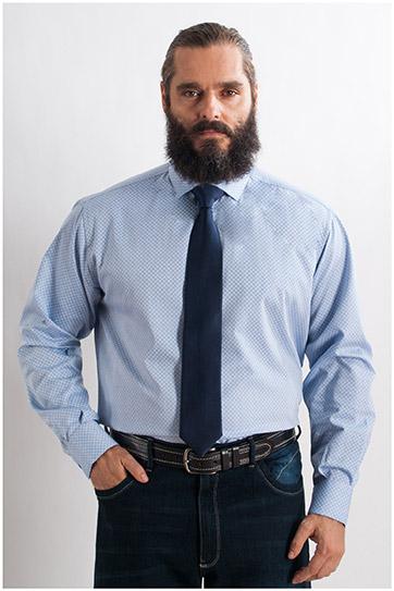 Camisas, Vestir Manga Larga, 107743, CELESTE