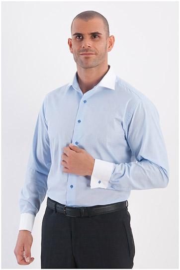 Camisas, Vestir Manga Larga, 107968, CELESTE