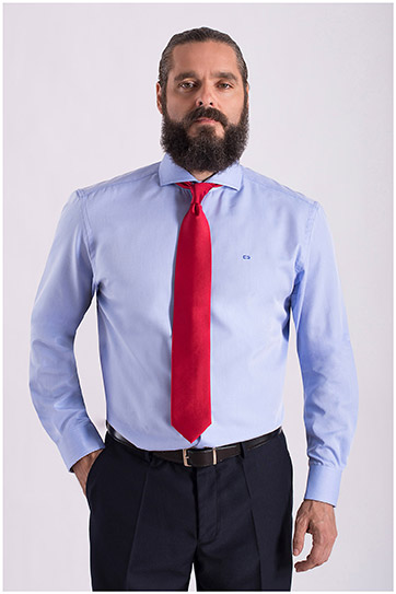 Camisas, Vestir Manga Larga, 108354, CELESTE