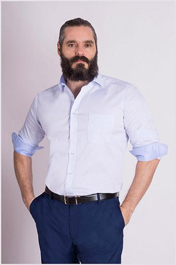 Camisas, Vestir Manga Larga, 109085, CELESTE