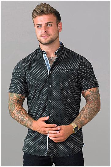 Camisas, Vestir Manga Corta, 109098, NEGRO