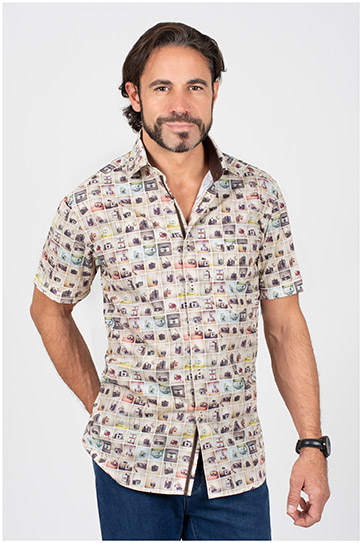 Camisas, Sport Manga Corta, 110150, BEIGE