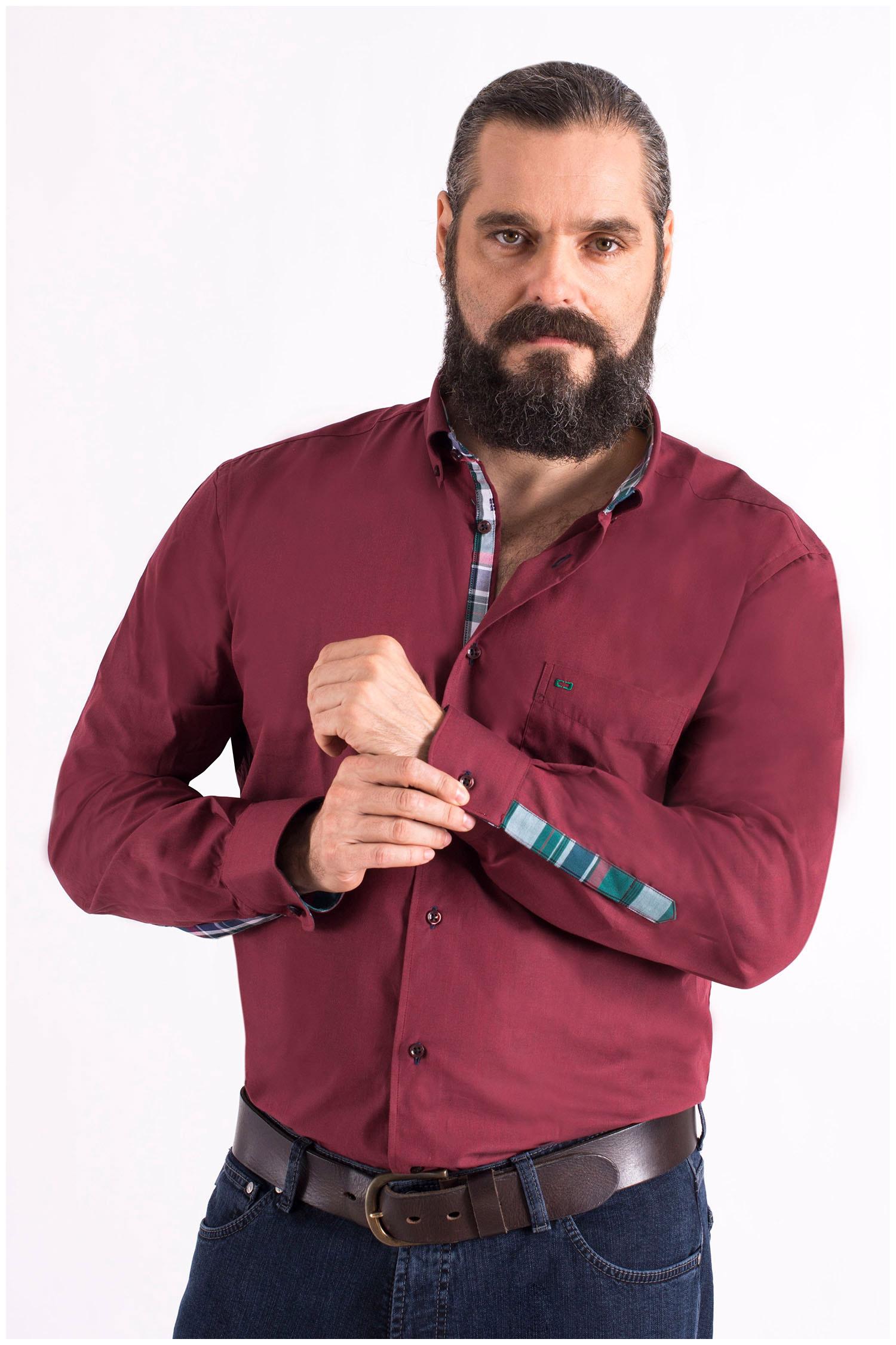 Camisas, Sport Manga Larga, 108560, GRANATE | Zoom