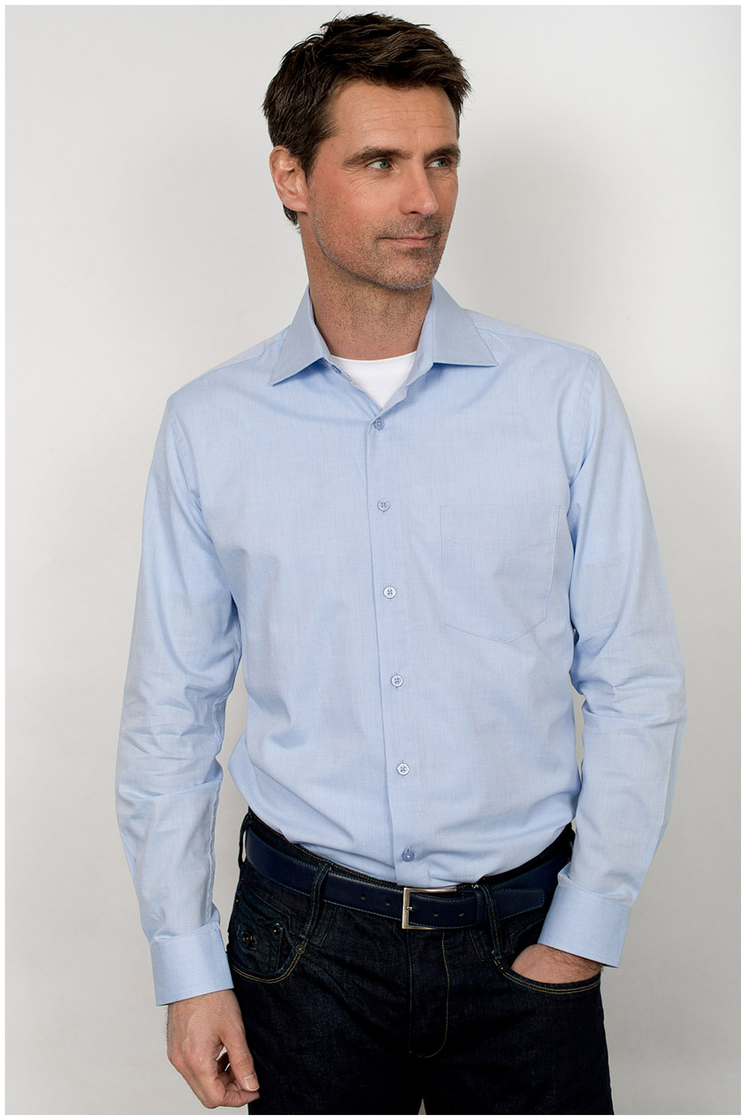 Camisas, Vestir Manga Larga, 109909, CELESTE | Zoom